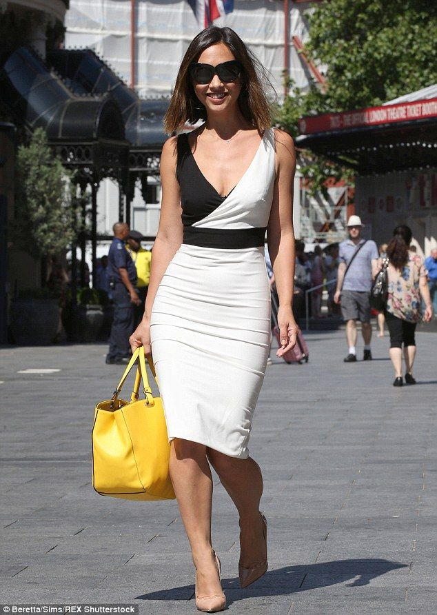 Myleene Klass wears fitted black-and-white dress - Fitted dresses ...