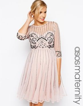ASOS Maternity Skater Dress With Victoriana Embellishment.really Cute Baby  Shower Dress