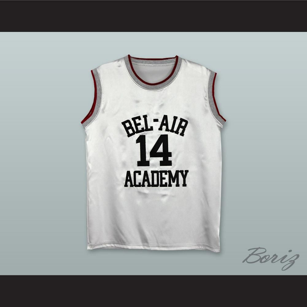 e91083184d7 The Fresh Prince of Bel-Air Will Smith Bel-Air Academy White Silk Basketball