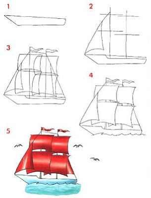 dibujar medios de transportes marítimos rayito de colores
