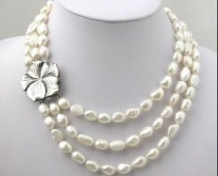 """Beautiful 9-10MM white Freshwater Pearl necklace 18/"""" AAA"""