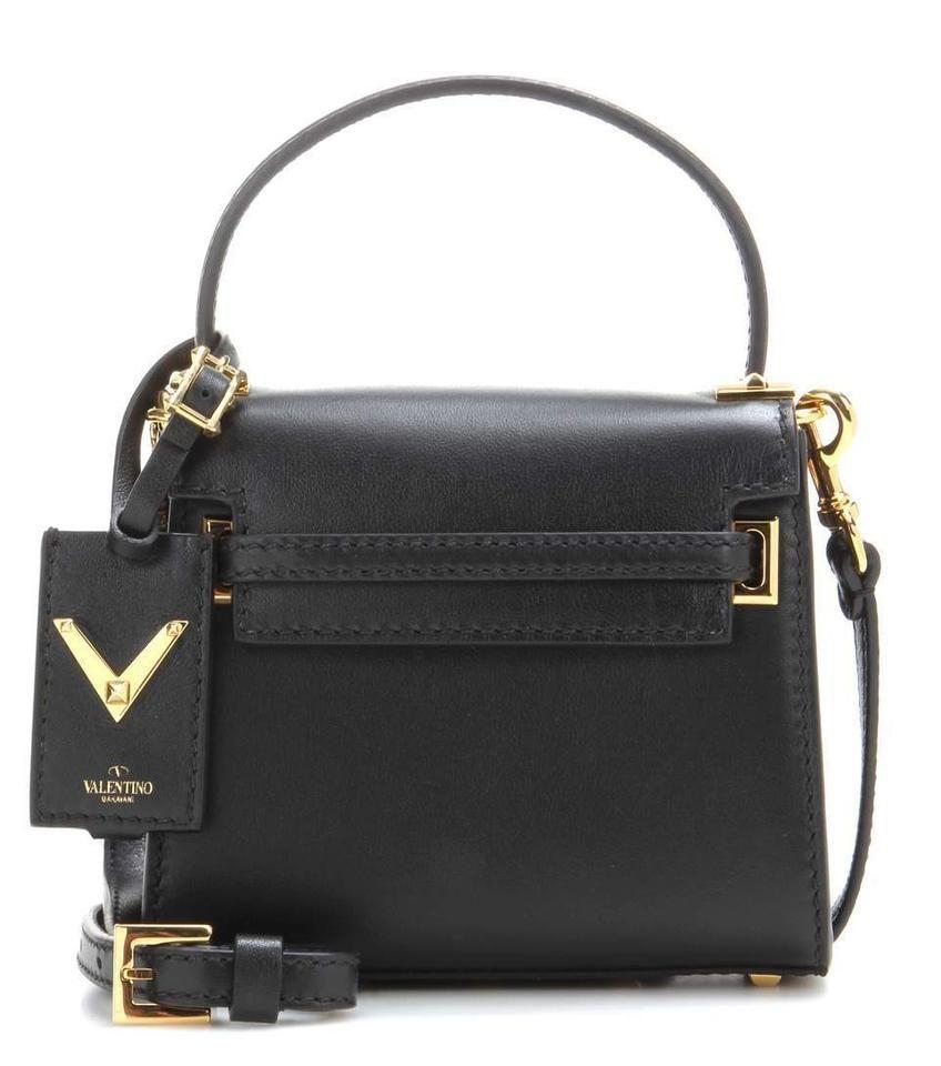 Valentino My Rockstud Pebbled Logo Studded Black Leather Satchel