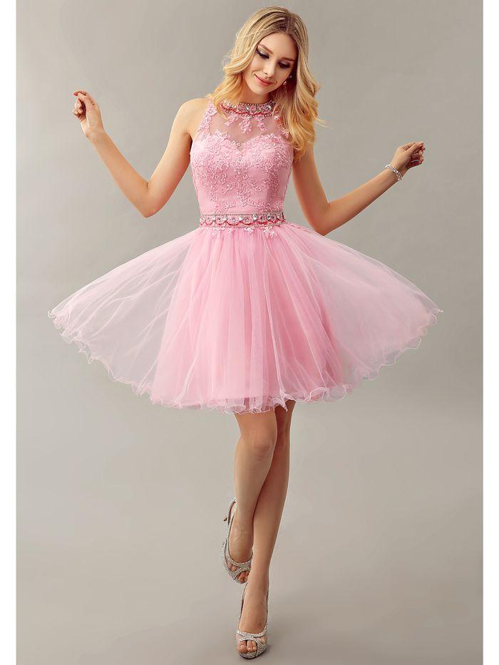 2016 neue Sexy Rosa Short A-linie Sleeveless Wulstige Kristalle ...