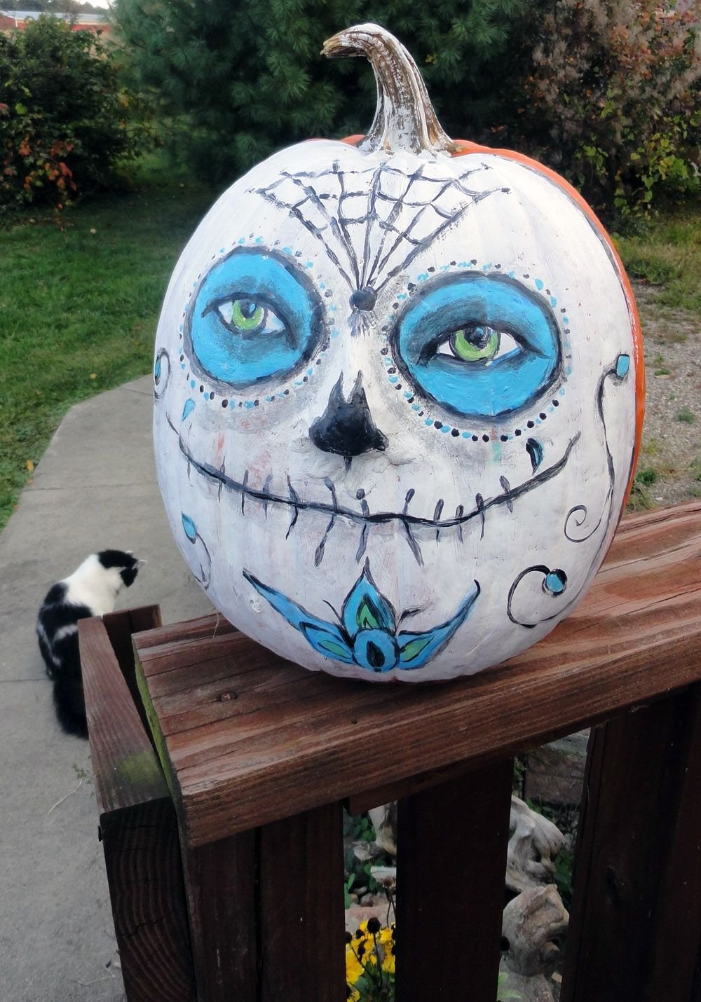 I painted half the pumpkin white ans added a scary silly ...