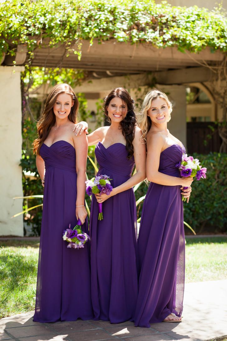 Beachy, Purple Strapless Bridesmaid Dresses | Bridesmaid Dresses ...