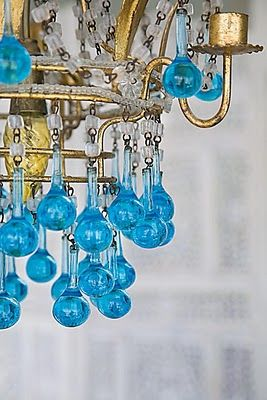 turquoise chandelier ~ my mom has a chandelier with drops like this but emerald green. so freakin cool ~xoxo~