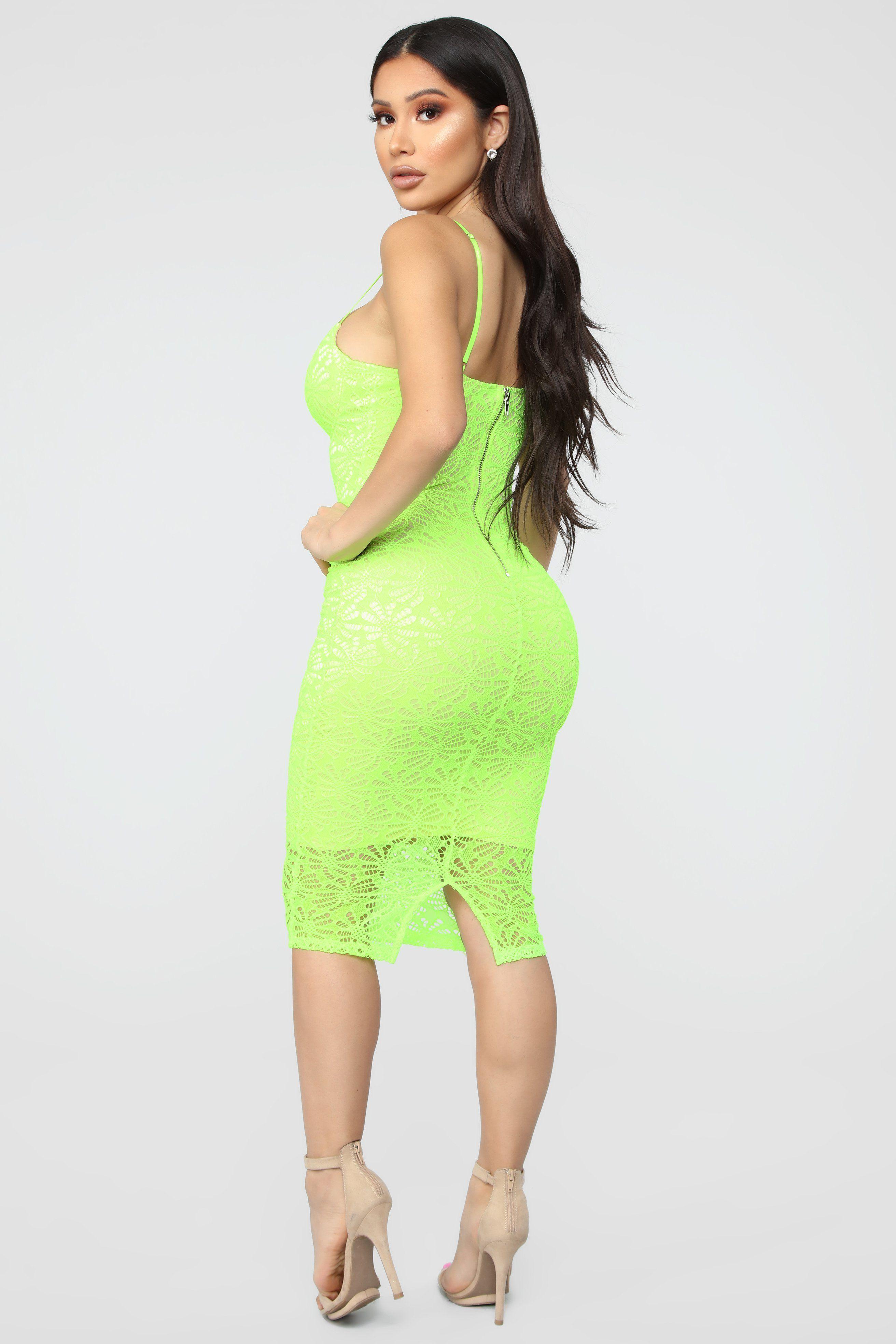 Rumor And Gossip Lace Dress Neon Yellow in 2020 Neon