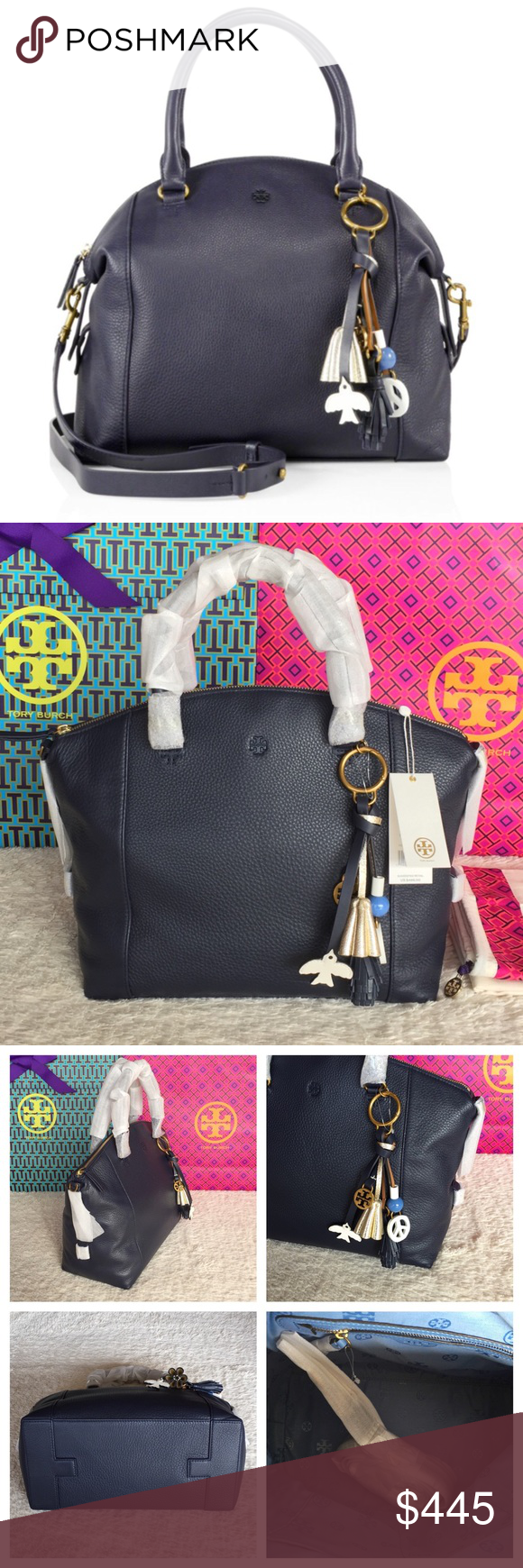 9ae21c94734 BRAND NEW TORY BURCH PEACE SATCHEL  NAVY Authentic. Brand new with tags.  Color