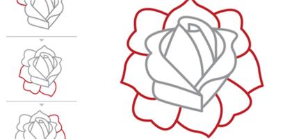 Como Dibujar Una Rosa Con El Clasico Estilo Del Tatuaje Como Dibujar Rosas Dibujos De Rosas Dibujo De Rosa Facil