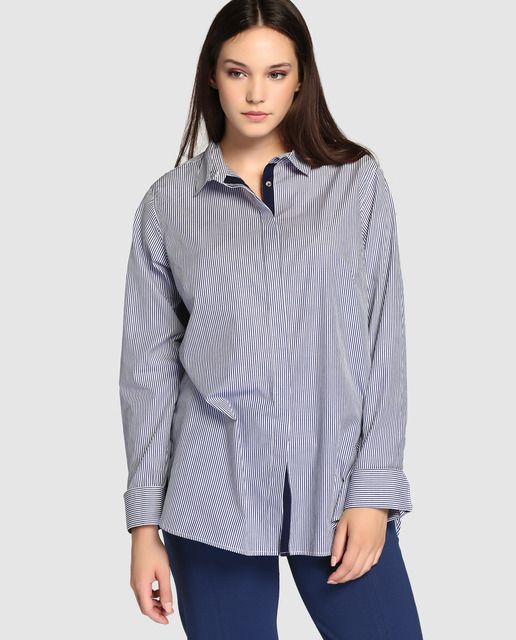 2a5e0d9dd6cea Camisa de mujer talla grande Couchel con manga larga y estampado mil rayas