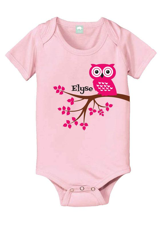Personalized baby gift owl baby bodysuit new baby gift personalized cute owl baby onesie owl birthday girl bodysuit negle