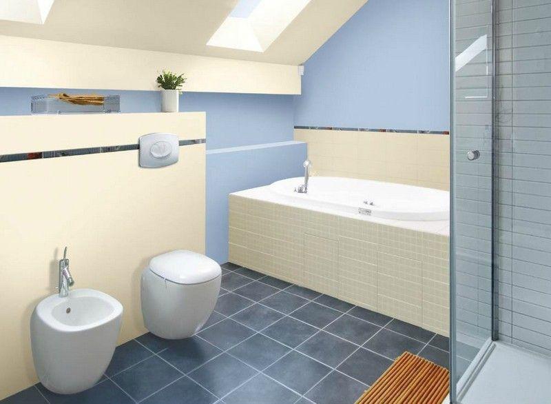 les 25 meilleures idées de la catégorie salles de bains gris jaune ... - Carrelage Salle De Bain Bleu