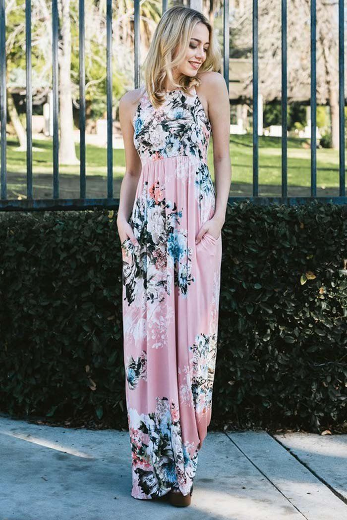c9d84245165 GOZON Women s Trendy Floral Bouquet Racer Back Sleeveless Maxi Dress – GOZON  Boutique