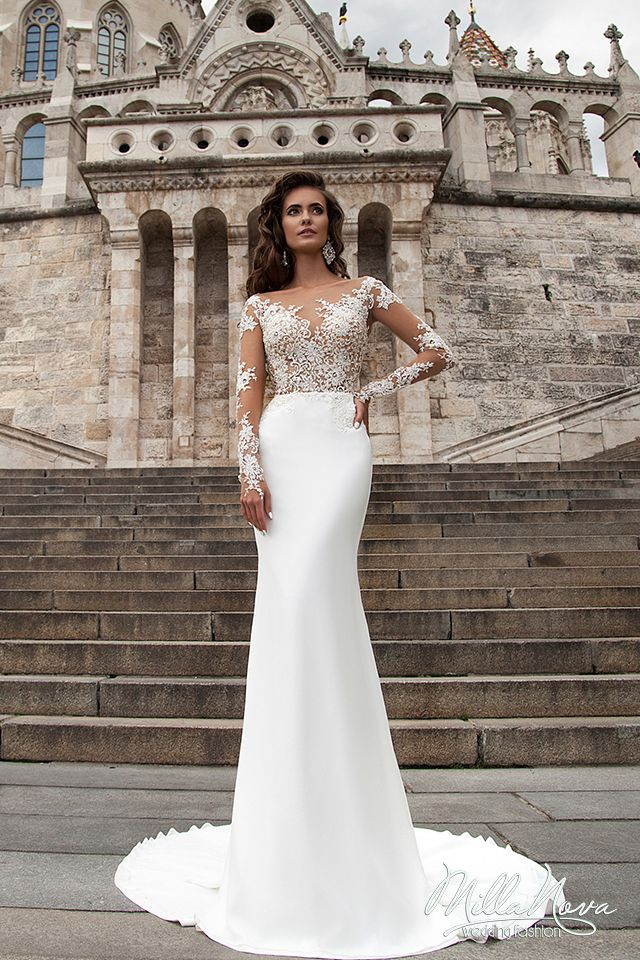 Find More Wedding Dresses Information About Y Sheer 2017 Full Sleeves Illusion Boat Neck White Lace Bridal Gown Satin Dress Robes De