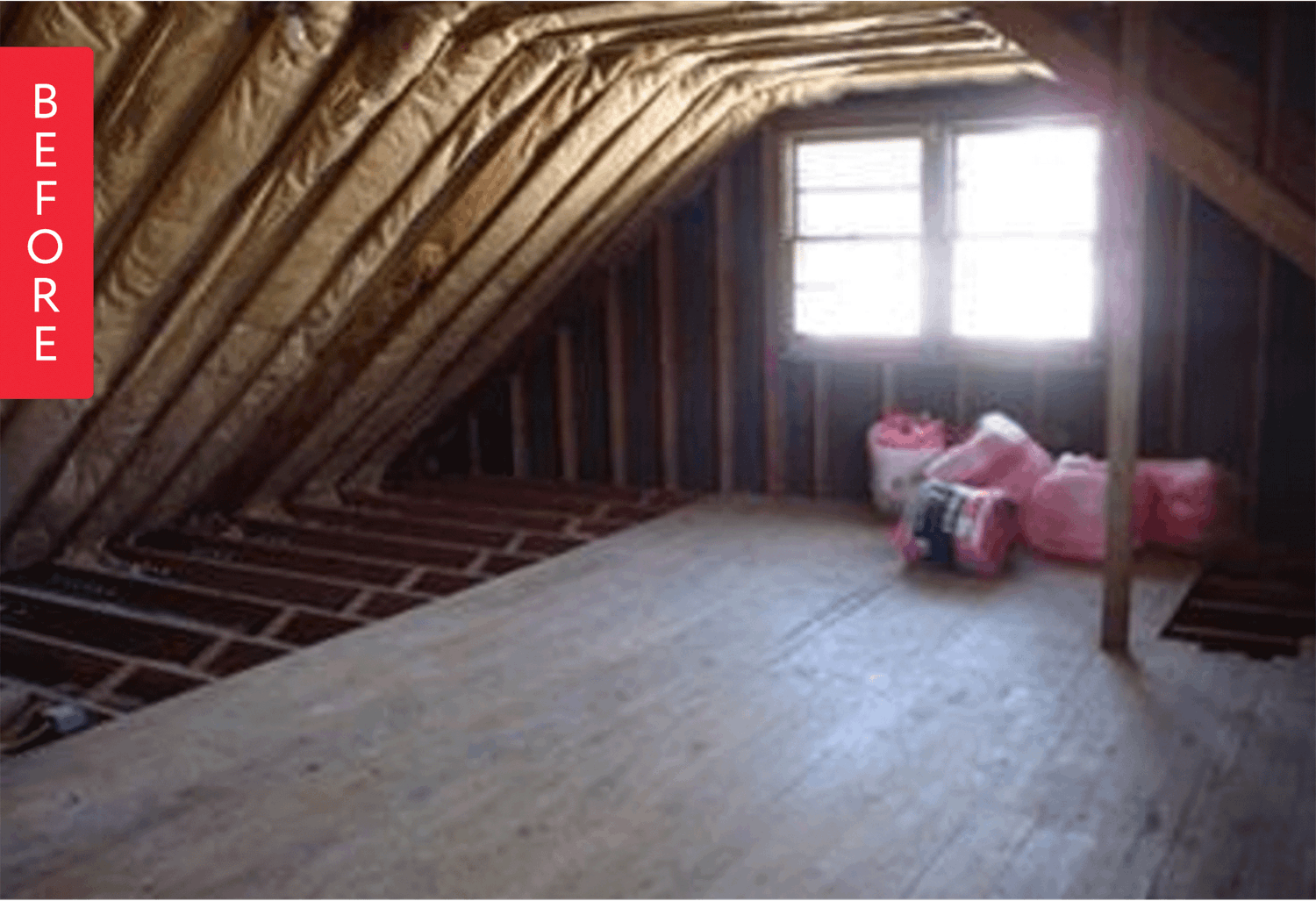 Before And After An Unfinished Attic Becomes An Airy Office