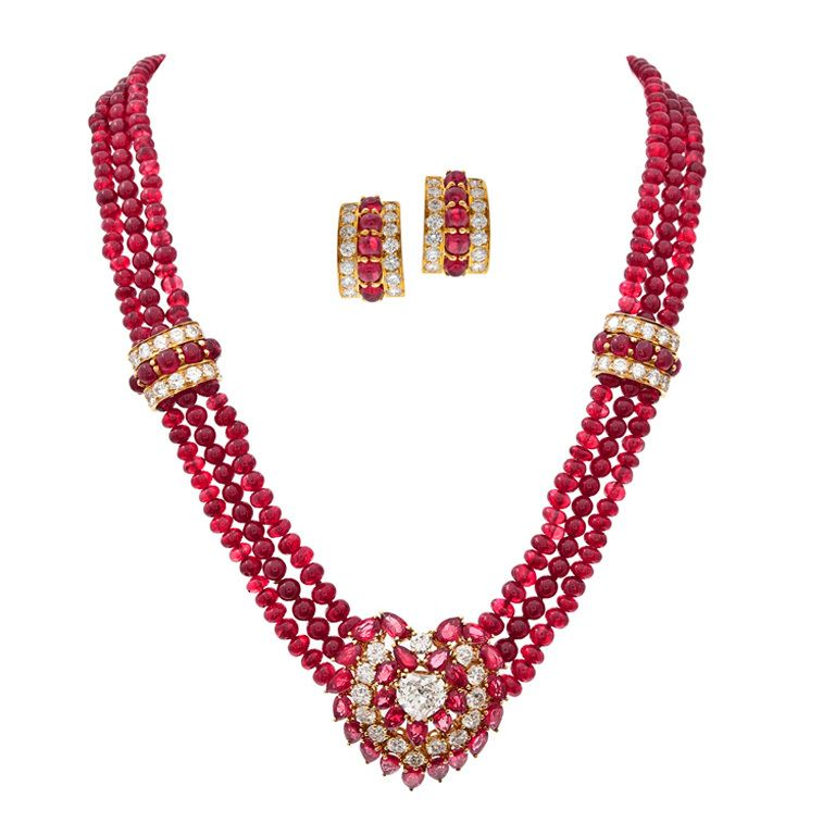 Burma Ruby Diamond Yellow Gold Necklace & Earrings Suite | From a unique collection of vintage multi-strand necklaces at https://www.1stdibs.com/jewelry/necklaces/multi-strand-necklaces/