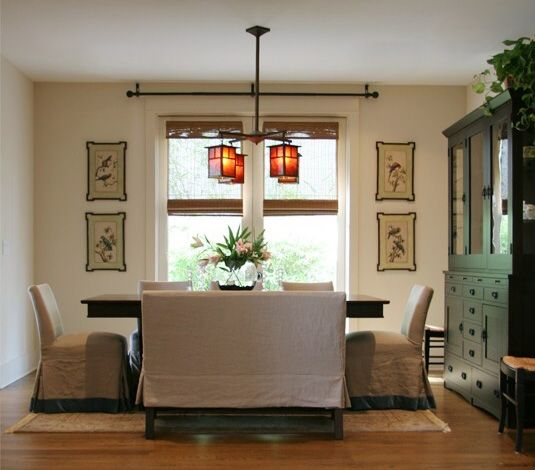 Dining Room Featuring Quatrine Slipcovered Parsons Bench And Low Back Chairs