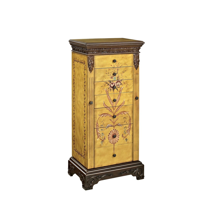 Hand Painted Antique Parchment Jewelry Armoire | Antique ...