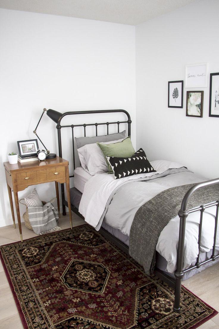 bedroom design with metal bed