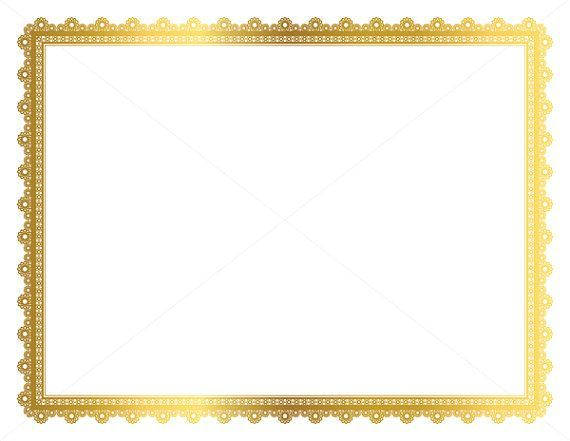 Gold Decorative Frame, Page Border, Digital Frame, Border
