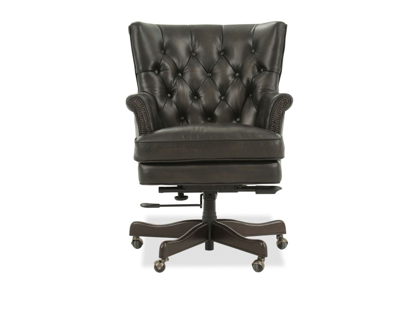 hooker theodore leather brown home office chair mathis brothers