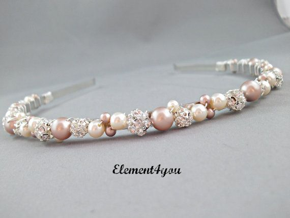 Swarovski Pearls rhinestone Balls Bridal Tiara Headband Champagne Ivory peach mix Beaded Silver Metal Hair Junior girl Wedding accessories