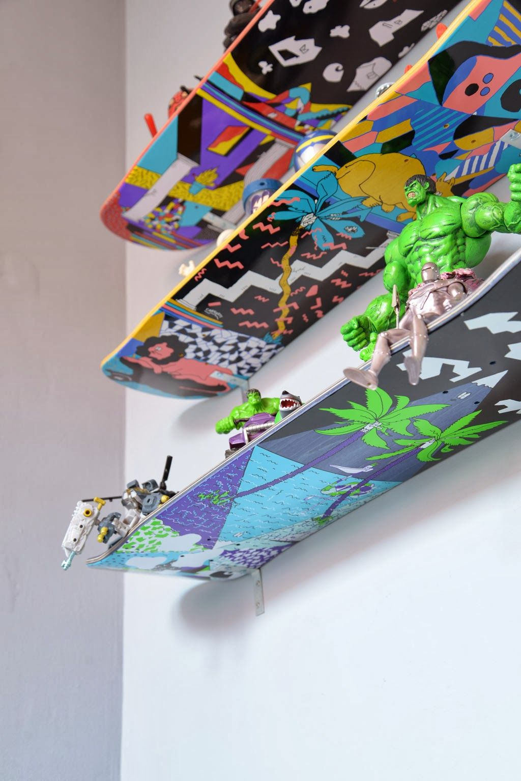 for children: skateboards as shelves for toys