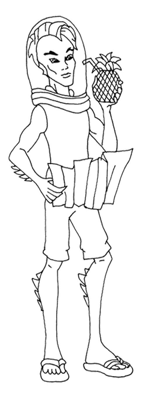 Gillington Drink Juice Pineapple Coloring Page