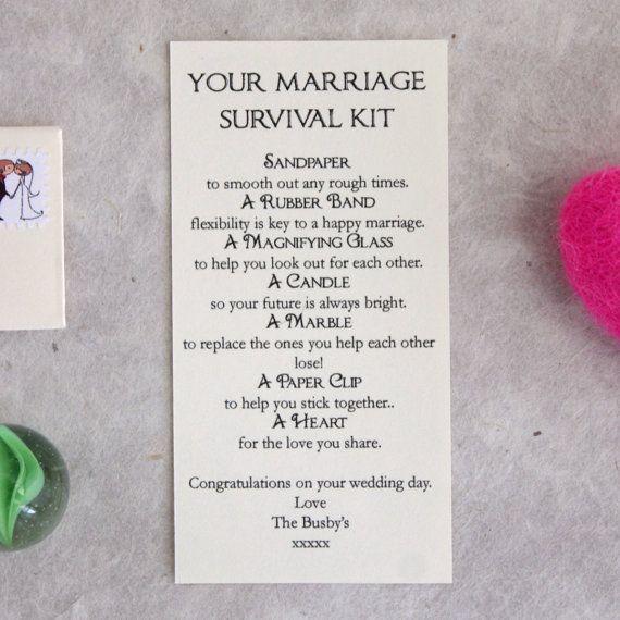 Personalised Wedding Gift Marriage Survival Kit by LittleLetterUK