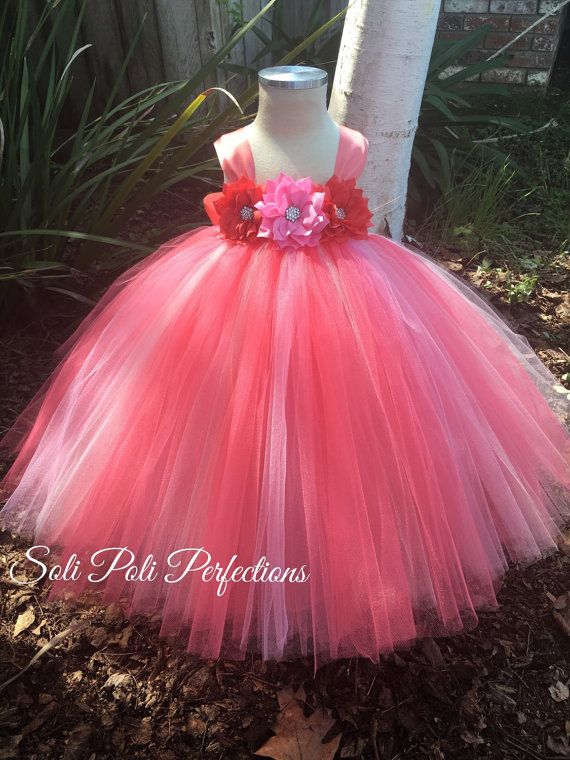 Coral Tutu Dress, Pink Tutu Dress, Flower Girl Dress, Pink and Coral ...