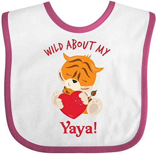 Inktastic Baby Boys Wild About my Yaya Baby Bib WhiteRaspberry >>> Check this awesome product by going to the link at the image.