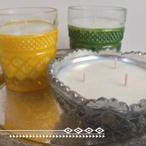 Soy Candles - Resoycle.com - Tinted Cut Glass