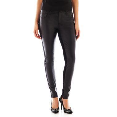 Bisou Bisou 5 pocket faux leather front pants