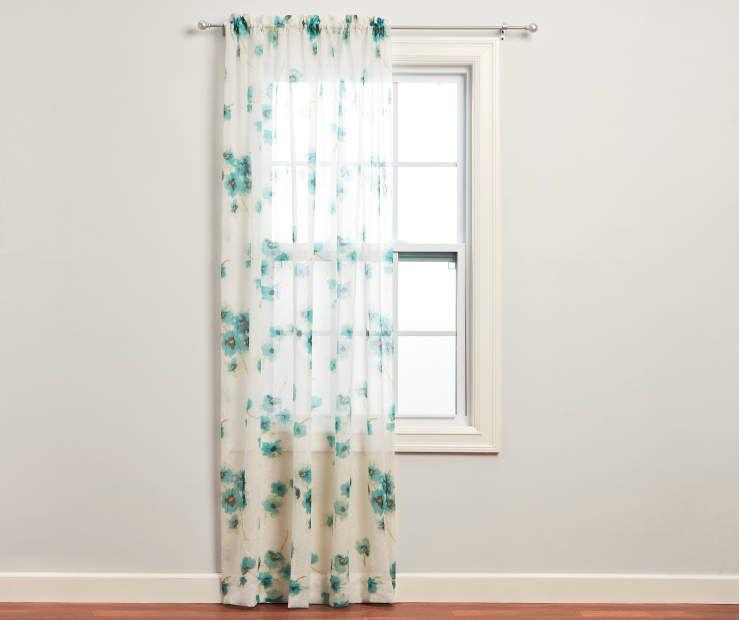Just Home Nikita Aegean Crushed Voile Sheer Curtain Panel 84