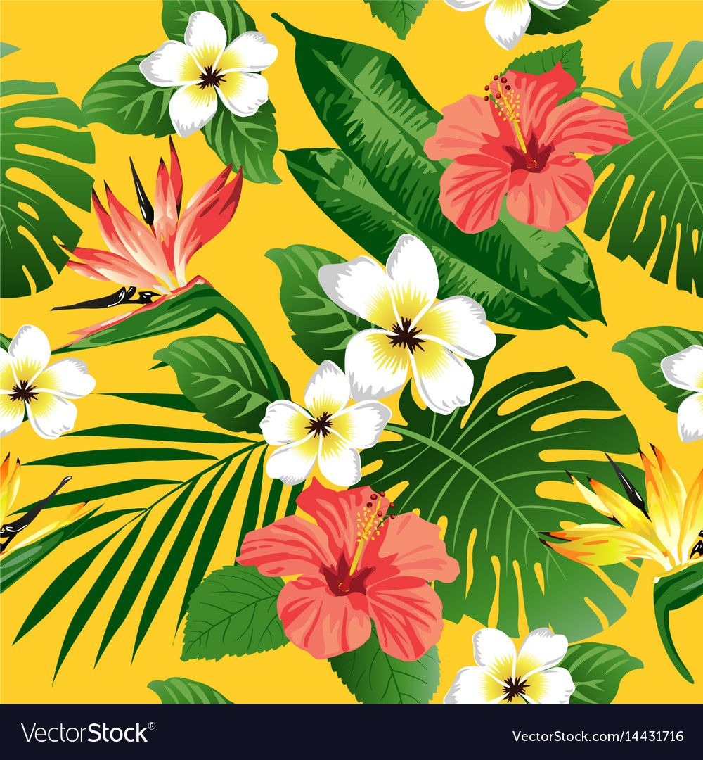 Tropical flowers and leaves on yellow background Vector