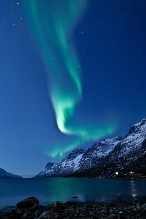 Aurora Borealis in Norway, reflected Wall Mural • Pixers