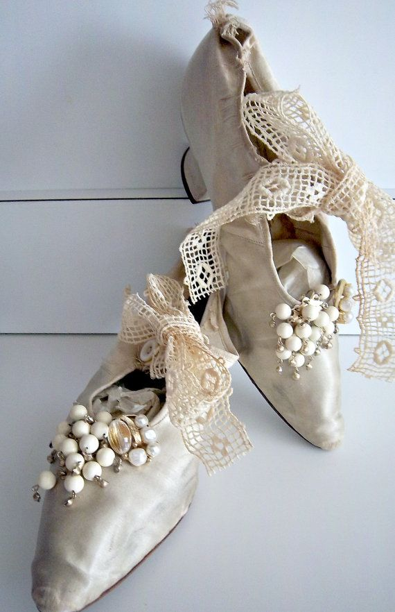 Victorian Edwardian Antique Wedding Silk Shoes Slippers Circa 1902