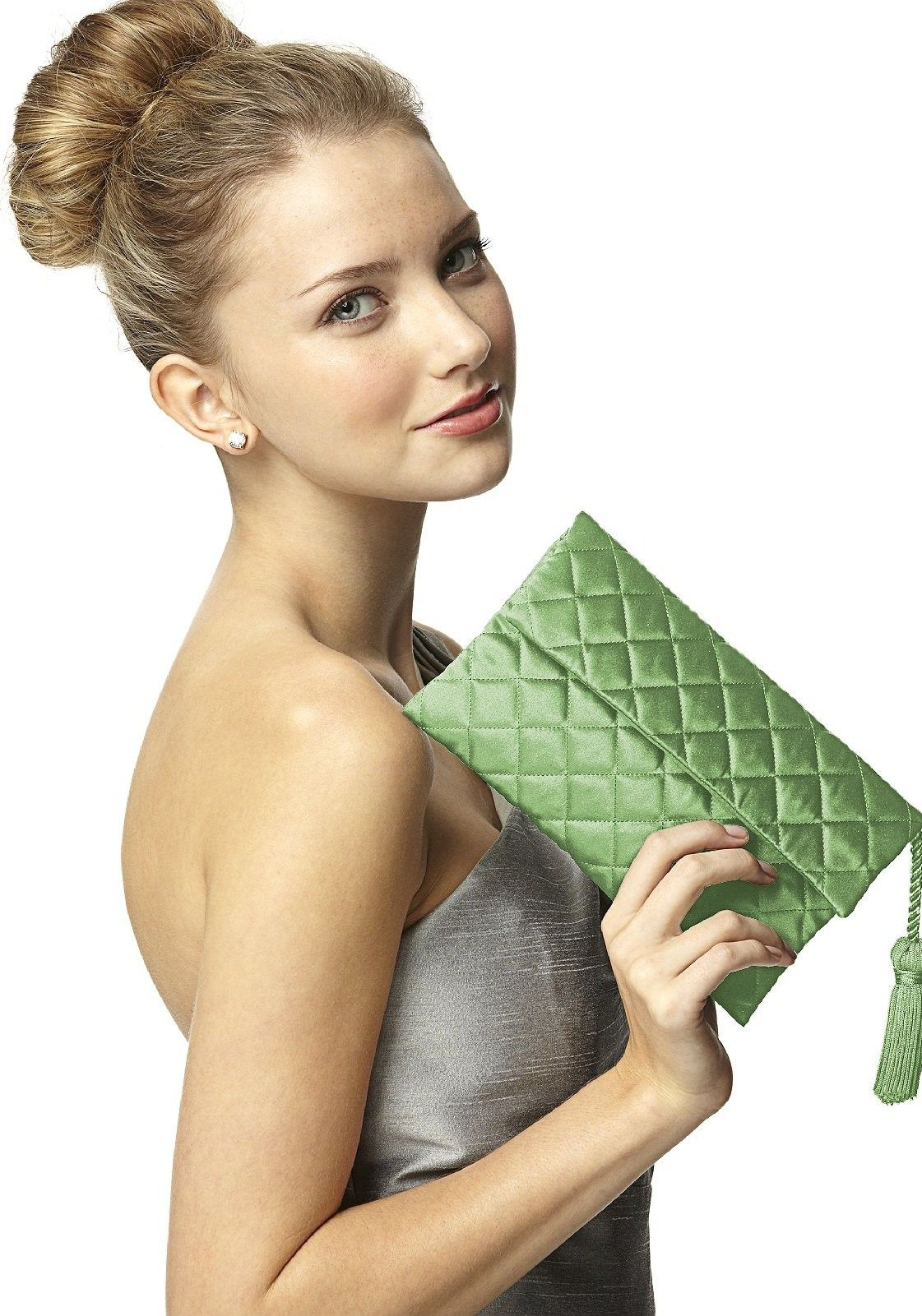 Dessy Quilted Envelope Clutch with Tassel Detail Bridesmaid Accessories in Apple Slice