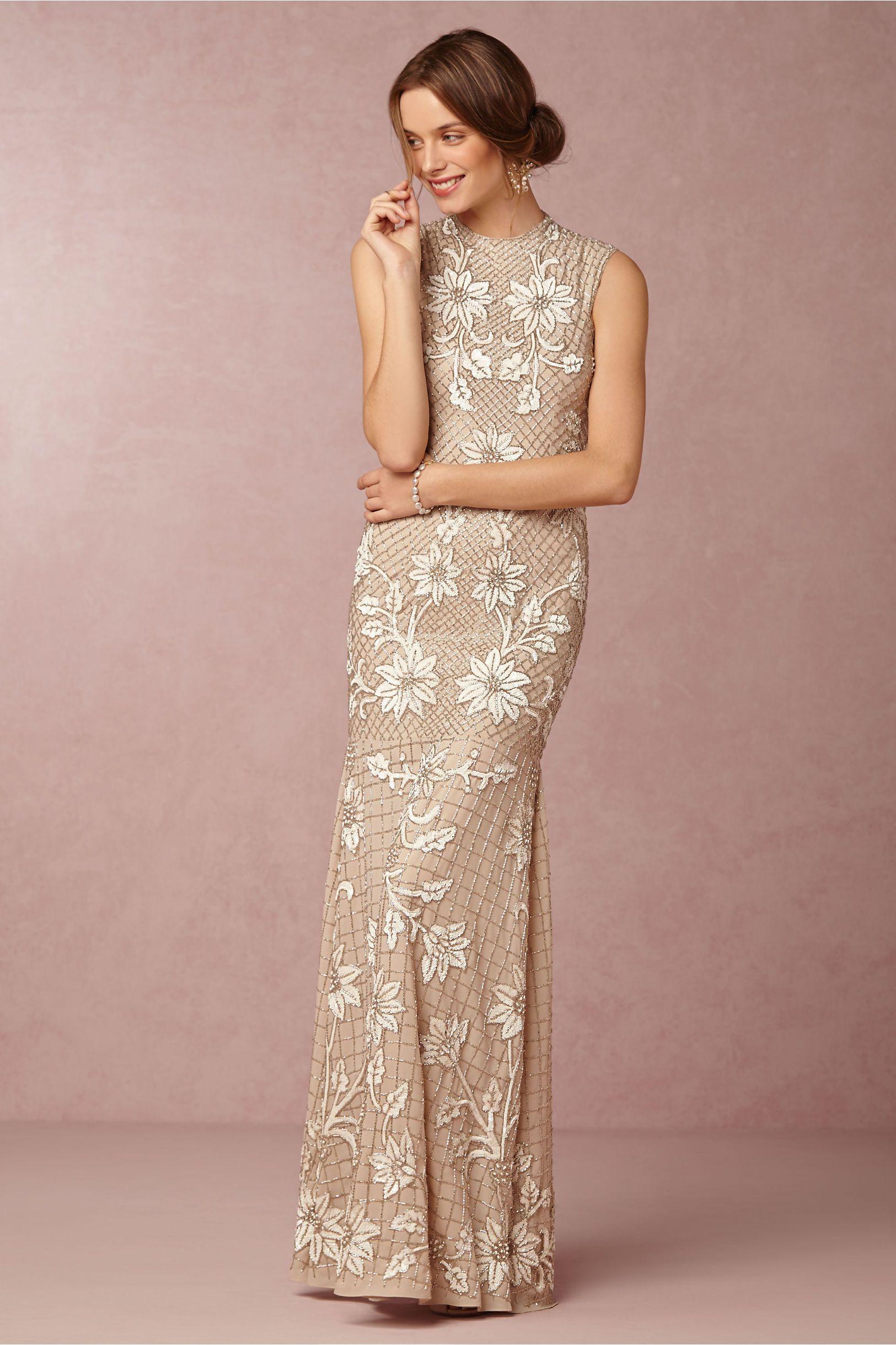 metallic sheath wedding dress | Astrid Gown by Needle & Thread for ...