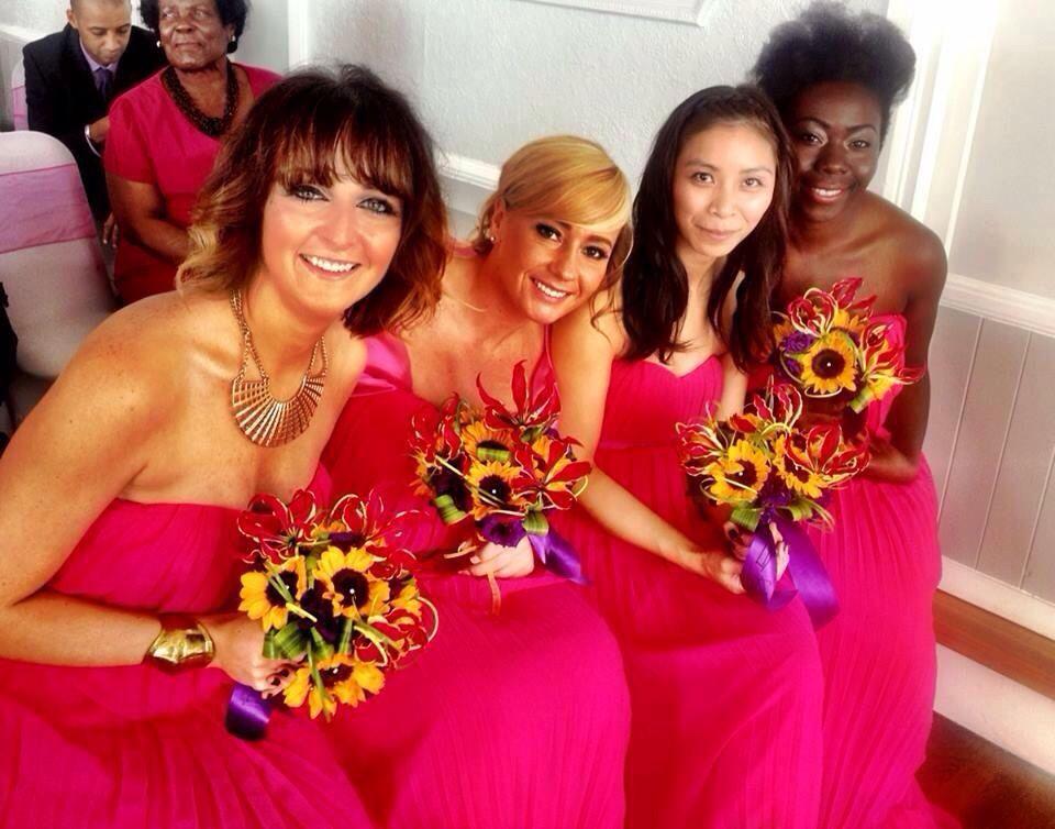 Sunflower bouquets by www.weddingflowersincornwall.co.uk
