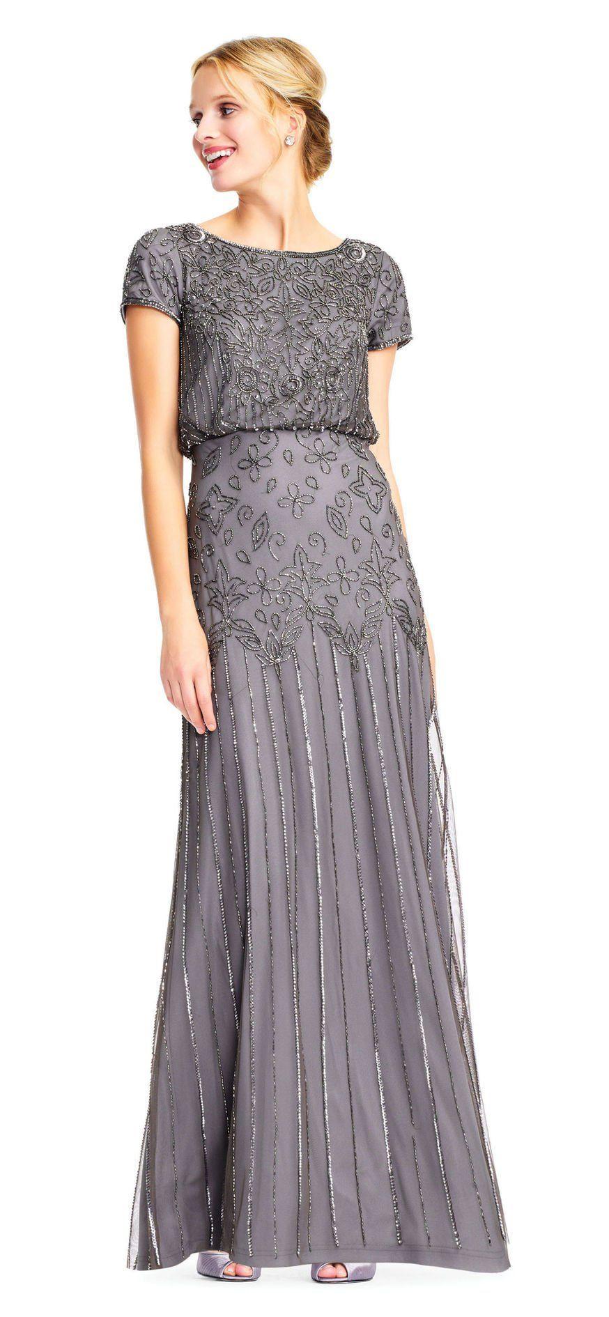Short Sleeve Blouson Beaded Gown Beaded Bridesmaid Dress Beaded Gown Silver Grey Bridesmaid Dresses