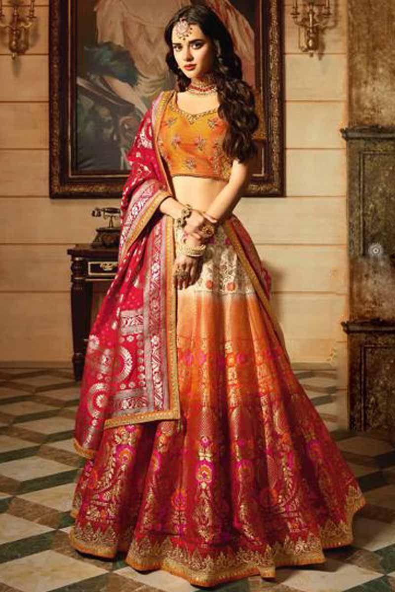 07a5df2bc5 Heavy Bridal Lehenga Yellow Banarasi Silk Chaniya Choli - Andaaz Fashion