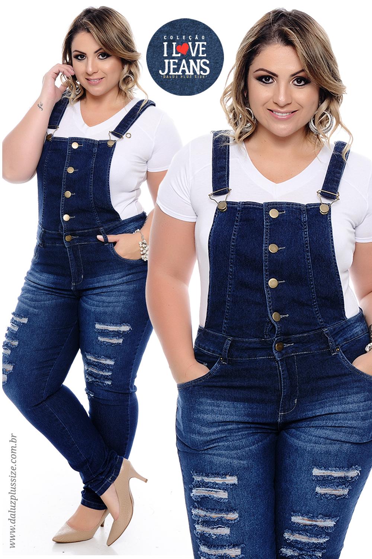 72f4b6e7ac Jardineira Jeans Plus Size Marilu - Coleção I Love Jeans Plus Size -  daluzplussize.com.br