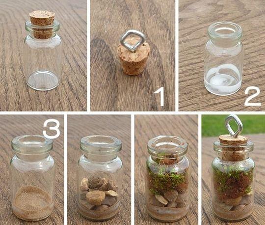 Terrarios en frascos de vidrio miniatura manualidades - Que hacer con botellas de vidrio ...