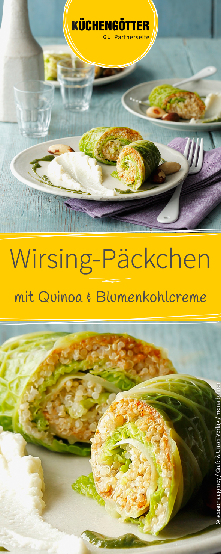 Photo of Vegan savoy quinoa packet on cauliflower cream