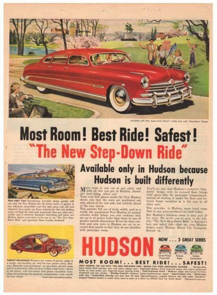 Vintage 1950 Red Hudson Step Down Magazine Print Ad 1950s