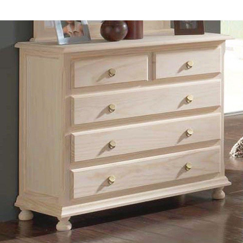 C moda dormitorio con 5 cajones pino ramona muebles muebles dormitorio y comodas dormitorio - Comodas pintadas ...