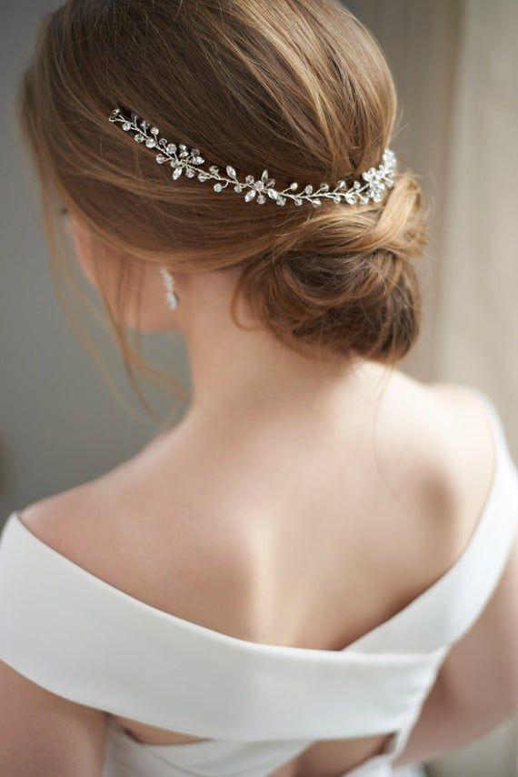 Floral Rhinestone Wedding Headband, Silver Bridal Headband, Wedding Accessory, Flower Headband, Ribbon Bridal Crystal Accessory ~TI-3341