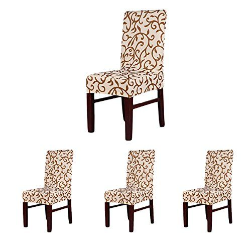 X Soft Fit Stretch Short Dining Room Chair Covers Printed