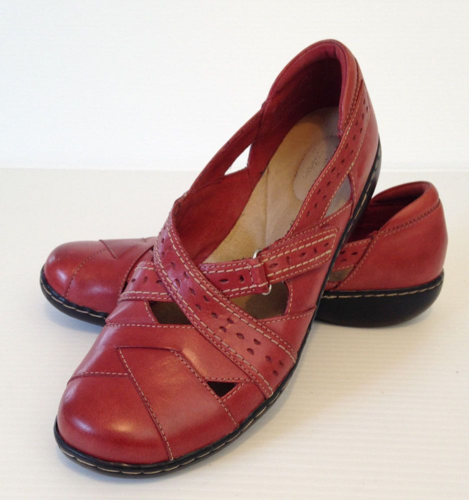 CLARKS Bendables Womens Ashland Spin Red Flat Comfort Shoes Size 9.5 M USA